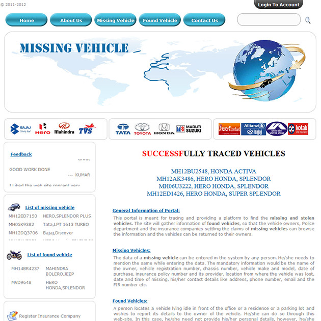 Missingvehicles.co.in